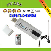 Wholesale Digital satellite DVB t2 usb tv stick Tuner with antenna Remote HD TV Receiver for DVB T2 DVB C FM DAB