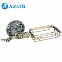antique shower hardware - AZOS Wall Mounted Soap Dishes Bathroom Accessories Shower Hardware Components Antique Brass Color GJKE2614D