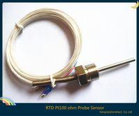 Wholesale Hot Pc New Rtd Pt100 Ohm Probe Sensor L mm Pt Npt Thread With Lead Wire
