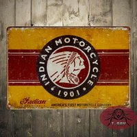 Acrylic acrylic painting signed - GENUINE Indian Motorcycle cm metal painting Retro poster Vintage metal tin signs bar home cafe Pub wall decor C