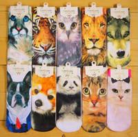 Wholesale 3D Printed Socks Women New Unisex Cute Low Cut Ankle Socks Multiple Colors Cotton Sock Animal Printing Socks