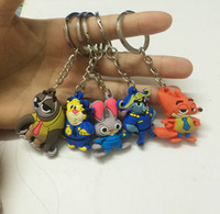 Wholesale Zootopia figures keychain ring toys Three dimensional soft rubber key chain Judy Hopps Nick Fox pendant accessories gifts for kids child
