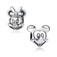 Wholesale Mickey Minnie sterling silver jewelry pendant charm beads Fit DIY European drift snake chain Bracelet