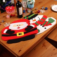 Wholesale New Christmas Santa Claus Placemats Snowman Mat Place Mat Pads With Napkin Dinner Table Christmas Supplies Decorations