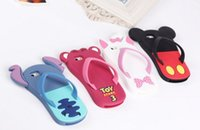 apple slippers - 2016 New Slippers Sleeve Soft Rubber Silicone Cartoon Stitch Case For iphone s cases iphone cover by DHL