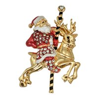beer party accessories - Santa Brooch Drill Women Festival Jewelry Accessories Rhinestone Pins Christmas Holiday Gold Plated Zinc Alloy Beer Brooches Pin Hot Selling
