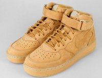 air force fabric - Air Force Mid PRM QS FLAX Wheat Men Ane Women Sneakers breathable sport trainers one casual sneakers Eur