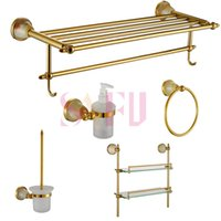 antique glass bathroom shelf - Luxury Antique design Art Gold Bathroom Hardware Hanger Set Towel Rack Ring Paper Holder Brush Glass Shelf Sanitary Accessories Sets