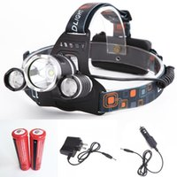 Wholesale Lm Waterproof Headlamp CREE XML T6 Modes LED Headlight Recgargeable Head Light Spotlight For Hunting Camping Charger