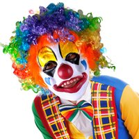 Wholesale Halloween Novelty Clown Mask and Wigs Full Face Latex Color Mask Cosplay Headwear Hair Prom Clown Props Dancing Party Costume CS1003