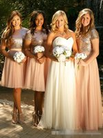 Wholesale Sparkly Mini Prom Dress - 2017 Sparkly Blush Pink Sequins Bridesmaid Dresses Custom Made Cheap Short Sleeves Plus Size Junior Two Pieces Wedding Guest Prom Party Gown