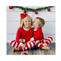 Wholesale hot sale boutique baby clothing teenage kid child boys girls christmas family pajamas red green pjs baby stripe pajamas