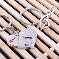 Wholesale ashion Jewelry Key Chains New Valentine Boutique Creative Carving Letter Love Heart Musical Note Couple Alloy Romantic Love