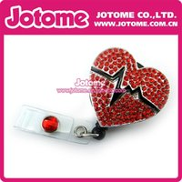 african airlines - Red heart Rhinestone Crystal reel retractable ID badge holder for Nurse Airline