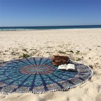 Wholesale Round Yoga Blankets Polyester Multi Function Mat Also Used as Wall Hanging Decor Art Swimwear Cover Up Retro Beach Towel
