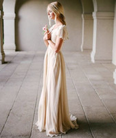 Wholesale Modest Wedding Dress with Flutter Sleeve Slim Fitted Scoop Neck A line Champagne Vintage Bridal Gowns Outdoor Beach Bride Dresses Simple New