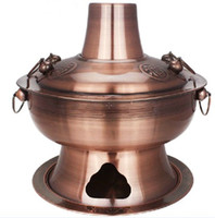 Wholesale copper color stainless steel hot pot old fashioned traditional charcoal stove restaurant home fire stoves cm