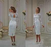 Wholesale Short Lace Wedding Dresses Modest Cap Long Sleeves Knee Length Sheath Backless Plus Size Causual Cheap Beach Garden Bridal Gowns