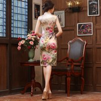Wholesale Small sexy backless Halter bride cheongsam retro slim package hip nightclub show wedding dress skirt fall short