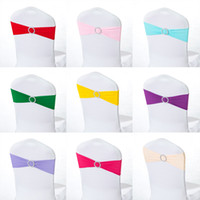 Wholesale Spandex Chair Cover Bands Stretch Sash with Round Buckle Slider for Banquet and Wedding Party Decoration
