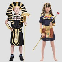 ancient egyptian costumes - New Design Children Ancient Egyptian Pharaoh Costumes Halloween Cosplay Boys Prince Performance Clothing SW0313