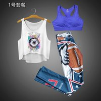 Wholesale Women Tracksuits Three piece suit with vest leggings sport bra plus size super stretch fitness pants tight D printing pants vest bra