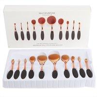 Wholesale 10 Gold Professional Soft beauty Toothbrush Makeup Brush Sets Foundation Brushes Cream Contour Powder Blush Lip Concealer Oval Brushes