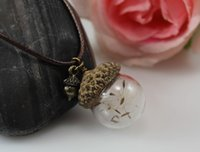 acorn seed - 18 MM Glass Ball Acorn Necklace with Dandelion Real Seed glass Bulb pendant Botanical Charm Long necklace Gift for her GGJ GJN