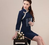 Wholesale National knitted sweet cheongsam dress trend vintage blue china style one piece tangsuit lace flower women plate buttons vstinus