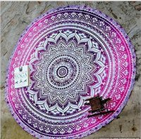 Polyester / Cotton beach blankets - Round Lotus Flower Shape Mandala Indian Tapestry Wall Hanging Floral Printed Beach Throw Towel Hippie Gypsy Yoga Mat Blanket cm