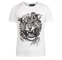 Wholesale 2016 Men Balmain Tigger Cotton Printed Short Sleeves Black White T Shirts Size M XXL Colors Mix Order Accepted CHE