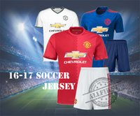 Wholesale 16 Soccer Suit Men s Top Quality Manchester Home Red Away Blue White ROONEY IBRAHIMOVIC POGBA football shirt with shorts