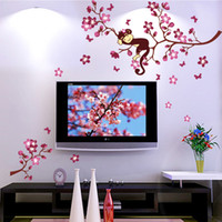 baby girl wall decal - Cute Monkey And Pink Flower Blossom Tree Wall Art Decor Decal Baby Girls Room Nursery Kids Children Bedroom Removable Wall Sticker