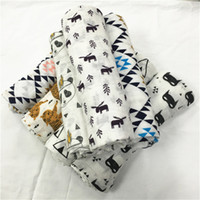 Wholesale 120x120cm Newest Baby Cotton Muslin Swaddle Wrap styles with Box cartoon panda fox print Blanket Newborn Swaddle Towel B994