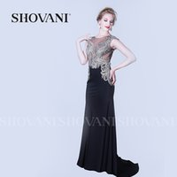 Wholesale 2016 New Hot Sale Lady Fashion Sleeveless Black w Sequin Formal Cocktail Party Gown Evening Long Dress