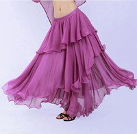 applique belly dance - 3 Layers Indian Clothing Women Bollywood Dance Wear Indian Pleated Skirt High Waist Long Skirt Chiffon Belly Dance Skirts
