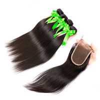 Wholesale Annaberry Grade a brazilian human hair weaves with closure three part straight bundles peruvian human hair straight with lace closure