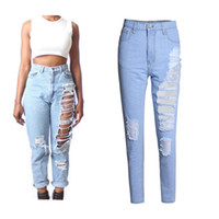 Wholesale Plus Size Denim Jeans Womens Sexy Blue Ripped Capeis Jeans Loose Casual Denim Pants American Streetwear Clubwear BSF0321