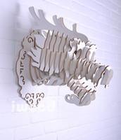 al por mayor objetos decoraciones-Blanca cabeza de bricolaje de madera del dragón para la decoración de la pared, objetos decorativos, MDF decorativo, la estatua del dragón chino, decoraciones tradicionales