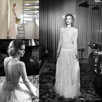 beach max - Lihi Hod Vintage Max Lace Pearls Beach Boho Long Sleeves Wedding Dresses Crew illusion Back A line muslim bohemian cheap Wedding Gowns s