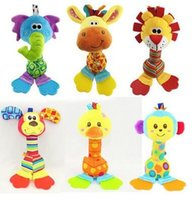 Wholesale Early Educational Soft Plush Happy Monkey Baby Toy With Bell and Squeaker Inside Baby Rattle Teether Handbell cm Stick Cartoon Animal Best