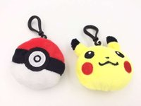 Wholesale DHL EMS Hot CM Poke Plush keychain Pendants Stuffed Pikachu Ball Plush Keychain Toys For Kids Gifts ELT044