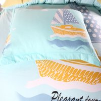 beach style comforters - blue ocean and beach style cartoon kids boat bedding queen unique bedding set sheets bed linen sets bed sheet bedspreads