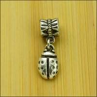 Wholesale insect Style Big Hole Loose Space Beads Charms Antique Silver Pendants for DIY Bracelet Necklace Jewelry women jewellry DK118