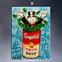 andy warhol decor - High Quality genuine Hand Painted Wall Decor Alec monopoly with andy warhol Pop Art Oil Painting On Thick Canvas Multi Size