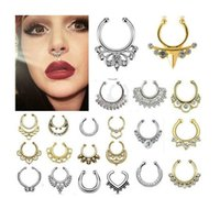 Wholesale New Arrival Alloy Nose Hoop Nose Rings Body Piercing Studs Septum Clicker Non Piercing Hanger Clip On Jewelry Direct Factory modles