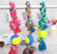 Wholesale Cotton Meteria Colorful Rope With Ball Pet Toy Cat Dog Chew Teethers For Cleaning Teeth Good Quality For Middle Large Pets Size