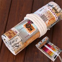 art supply storage - Holes Retro Postmark School Canvas Roll Up Pencil Case Pen Storage Bag Pouch Vintage Stationery Painting Art Supplies