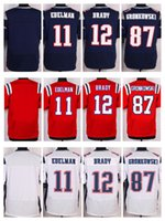 football jersey blank - NIK Elite Football Stitched Patriots Tom Brady Rob Gronkowski Julian Edelman Blank White BLue Red Jerseys Mix Order