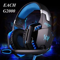 Wholesale EACH G2000 Headband Gaming Headset mm Port Stereo Headphone Earphone with Mic Display LED Light for PC Game